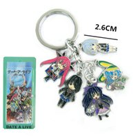Wholesale Anime Love Date a Live colored metal pendant keychain small charms with key Ring Tags