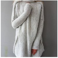 Wholesale New Autumn Winter Women Knitted Sweater Loose Long Sleeve Oversize Batwing Sleeve Pullover Jumper Turtleneck Long Sweaters