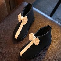 Wholesale Hot sale children s boots fashion decorative bow child boots good quality comfortable Wearable wild popular boots Without velvet boots HD189