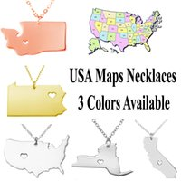arrival map - 2016 New Arrivals K Real Gold Plated Charm Pendant Necklaces For America States Maps Top Quality L Stainless Steel Fashion Jewelry