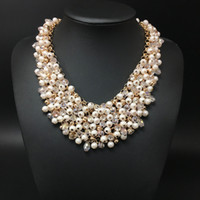 Wholesale Luxury Mother Pearl Fashion - 2016 high quality full crystal pearl necklace women handwork fashion chain necklace jewelry Luxury Body Statement wholesale Free Shipping