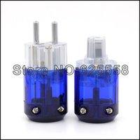 Cheap viborg audio New Oyaide Rhodium Plated C-037 IEC plug + P-037E Schuko Power plug EUR power plug for HIFI DIY Power Cable