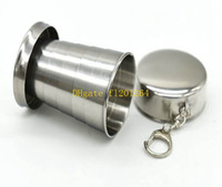 Wholesale 400pcs Portable Mini Stainless Steel Cup Travel Folding Collapsible Mugs Telescopic Folded Cups Collapsible Water Beer Mug
