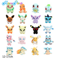 Wholesale 12 cm Mini Poke Plush Doll Toy Mewtwo Charmander Eevee Bulbasaur Dragonite Snorlax Lucario Cyndaquil Figure Toy Gift