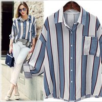 button down shirt - 2016 New Arrival Stylish Long Sleeve Turn Down Collar Vertical Striped Loose Fitting Blouse For Women Fashion All match Plus Size Shirts