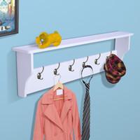 Wholesale 6 Hook Wall Mount Entryway Coat Rack Organizer Shelf Hat Bag Key Hanger