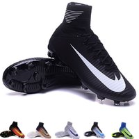 band kid shoes - Mercurial Superfly V FG Mens Soccer Boots Cleats ACC womens Football Shoes Kids cr7 adizero blue assassin