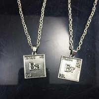 Pendant Necklaces bad necklaces - Symbol Br Ba Movie Breaking Bad Chemical Necklace square Pendants Link Chain Necklaces Statement DHL