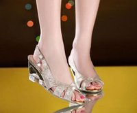 american wedges - 2016 European and American fashion sandals Wedges Rhinestone Sequin Fish head shoes Leisure mid heel sandals Tidal shoes flip flop