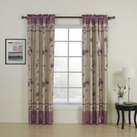 Wholesale Floral Contemporary Purple Rod Pocket Top Blackout Curtains Drapes With Multi Size Customs