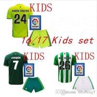 Wholesale 2016 Real Betis Kids Jerseys child teens Shirt JOAQUIN VAN DER VAART RUBEN CASTRO Wholesalers home rugby Jersey
