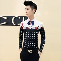 Wholesale 2016 new men s casual shirt men cultivating long sleeved shirt stitching floral pattern trend of men