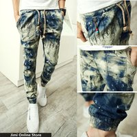 antique blue paint - linen trousers men floral joggers strip man jogger pants Men s tie dye harem pants ink painting a gradient antique casual pants