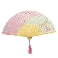 bamboo wall fans - Cherry Blossom Print Lace Bamboo Fans Handheld Folding Fans Party Decor Supplies