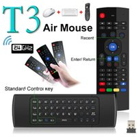 Wholesale Newest Fly Air Mouse Wireless Mini Keyboard with Mic Remote Control T3 for Android TV Box Media Player Better Than MX3 X8