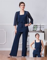Wholesale Dark Navy Blue Chiffon Mother of The Bride Dresses With Jacket Spaghetti Mothers Pants Suits Ankle Length Evening Dress