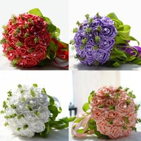 artificial paper - 2016 New Arrival Bridal Wedding Bouquet Artificial Bridesmaid Flowers Pieces Paper Red Rose Decoration Pearl Pe Flower Head WF006