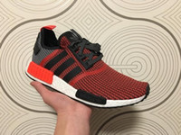 angeles court - Original Adidas NMD Runner Los Angeles Red R1 W quot Blue Glow quot Running Shoes Men Women Sneakers Cheap Mesh Brand Boost White With Box