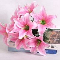 artificial tiger lily - Simulation of three lily perfume Pak tiger orchid artificial flowers artificial flowers silk flower living room decorative plastic