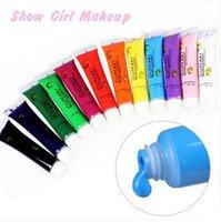 Wholesale 12 Colors X ml Acrylic Paint Nail Art Design d Painting Manicure Double Color Pigment Gel Tips Tube Set Diy Care Tools