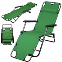 al por mayor sillas de playa metales-Chaise Lounge Verde del Ejercito Patio Chair Patio al aire libre Beach Metal Folding Recliner