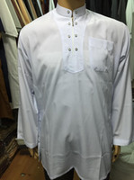 Wholesale Clothing for Men Muslim Work Wear Long Shirt Dress Thobe Malaysia Tunics Men Islamic Clothing
