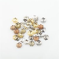 Wholesale 6mm mm Filigree Hollow Flower Metal Charms Bead Caps Findings For DIY Jewelry Making Bracelets