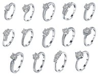 Wholesale 2016 New K Platinum Plated Propose Marriage Engagement Rings Wedding Rings Fashion Jewelry with AAA Cubic Zirconia Heart Flowers Shape
