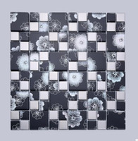 Wholesale Mosaic mosaic black light flower organic glass ceramic hotel background decoration genuine D