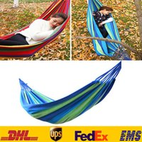 Cheap 280*80cm Single Outdoor Hammock Creation Thickerness Canvas Garden Hang Bed Travel Camping Swing Stripe Rope ZJ-H16