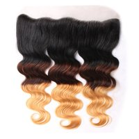 Cheap Ombre Brazilian Body Wave Lace Frontal Closure 13*4 inch T1b 4 27 100% Virgin Remy Human Hair Ear To Ear Lace Closure