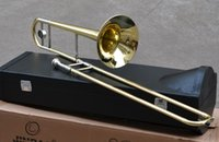 Wholesale Bb Tenor Trombone Yellow Brass Body Lacquer With Wood case Free Gift Cleaning Brush tools
