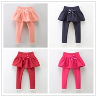 Cheap Winter Thicken 2-7T Girls Leggings for Dress Bowknot Lace Pantskirt Softy Cotton Children Kids Clothes Cotton Tights Girl K8058
