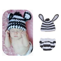 baby zebra photos - 2016 new Cute zebra Baby Costume Photography Set Newborn photography props infant photo pros Handmade knitting crochet baby hat GCL0159