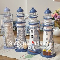 Wholesale Promotion LARGE Size Light House Candle Holder Metal lantern Iron Candle Holder house or shop decoration Mediterranean style