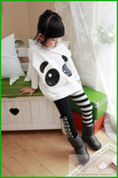clothing factory - factory killing price Girls Outfits Panda Long Sleeve Tops Striped Pants Kids Baby Clothing Sets girls clothes fast