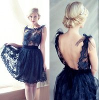 adorable homecoming dresses - Dark Navy Short Party Dresses Scoop Sleeveless Lace Appliques Ruched Charming Homecoming Dresses Adorable Sheer New Arrival Prom Dresses DZ