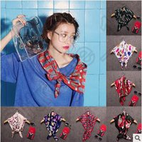 Wholesale Korean Design Silk Scarves High Quality Small Square Towel Scarves Multi Color Ployester Bow Tie Women Twilly Wraps CCA4600