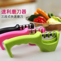 Wholesale factory in1 multi function kitchen knife sharpener ceremic coarse fine knife grinder high quality OPP packing