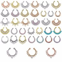 Wholesale Christmas punk taboo gold none piercing fake septum nose ring clip silver indian fake crystal nose stud N0009
