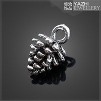 antique cedar - Cedar nuts antique silver alloy pendant charm for necklace or bracelet jewelry Findings Components