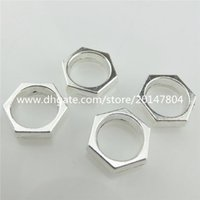 alloy lock nut - 20130 Vintage Silver Alloy Blank Smooth Hexagon Lock Nut Pendant Findings