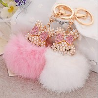 beaver furs - 2016 New Fashion Beaver Rabbit Fur Ball Fox Car Keychain Handbag Key Ring Pendant