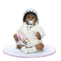american educational - 22 inch Very popular Native American Indian Reborn Baby Doll Smiling Dark Skin Color Collectible Baby Born Doll in White clothes