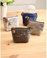 Wholesale Vintage Women s canvas bag coin keychain keys wallet mini zipper purse change pocket hollder organize cosmetic make up sorter