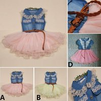 short dress with jeans - Hot Baby Kids Toddler Lace Denim Tutu Dresses Flower Party Wedding Pageant Princess Tulle Dress With Belt Children Jeans Clothing DHL Free
