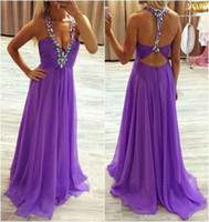 Wholesale Long Purple Graduation Dresses Sexy Deep V Neck Halter Crystal Beaded Open Back Prom Gowns Chiffon Long Party Dress For Girls