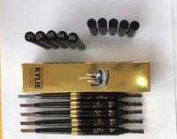 Wholesale Kylie Birthday Edition Waterproof Gold Eye Brow Eyeliner Eyebrow Pen Pencil with Brush Makeup Cosmetic Design Tool Colors