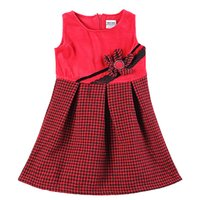 Wholesale Girl s dresses for school Dresses kids girl Girl s clothes Bow Natural Color Solid RED Lolita Style Sleeveless