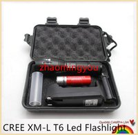 Wholesale HONG Gift box CREE XM L T6 Lm focus adjustable modes led flashlight torch lamp light with charger